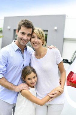 Family having bought new home