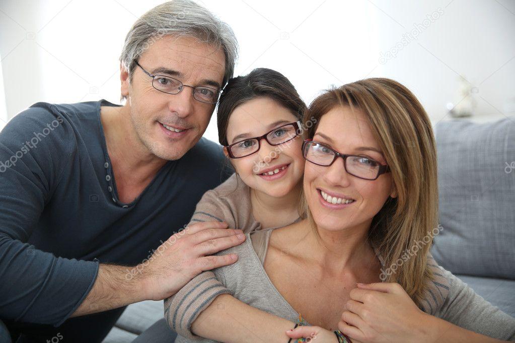 Family wearing eyeglasses