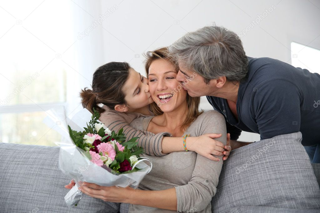 Family celebrating mothers day