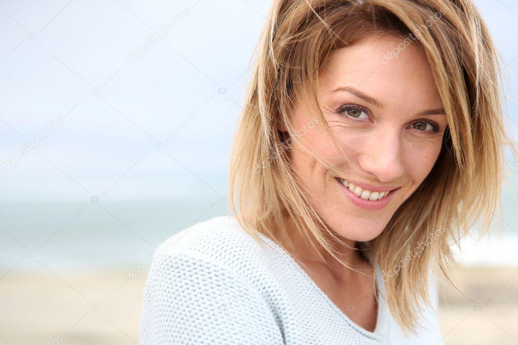 Blond woman on beach