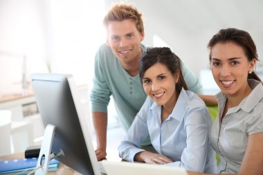 Students on business training