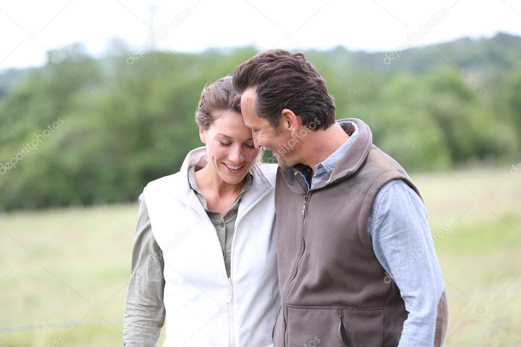 Lovely couple in countryside
