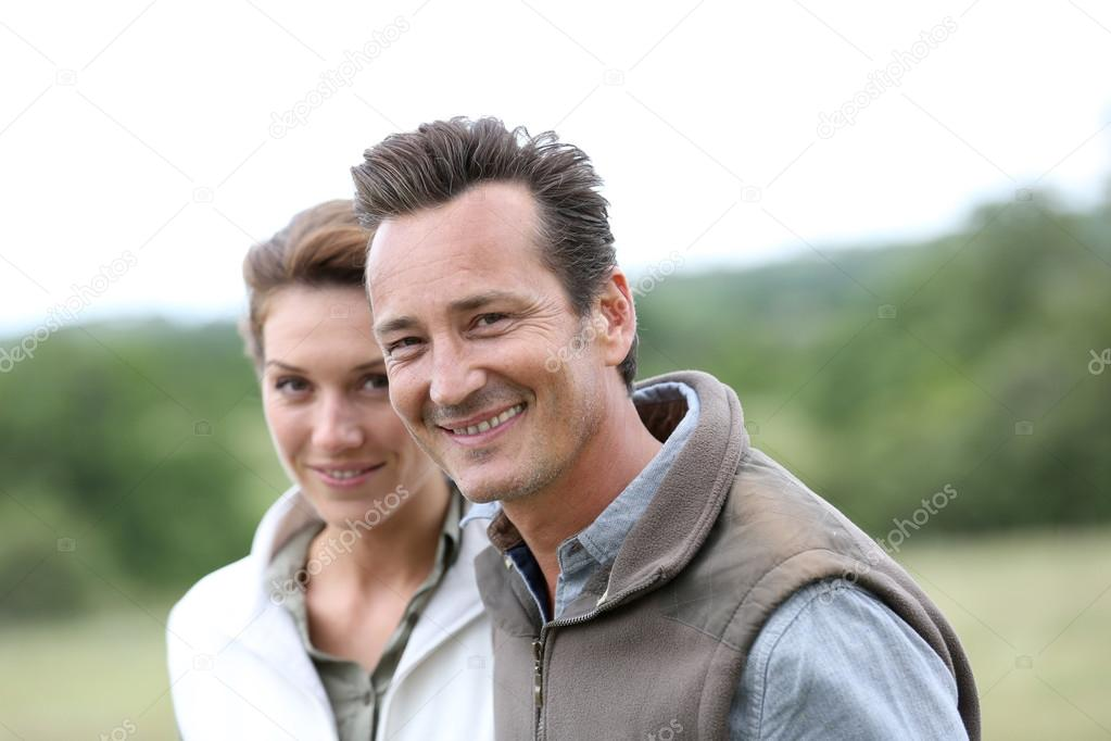Mature couple in countryside