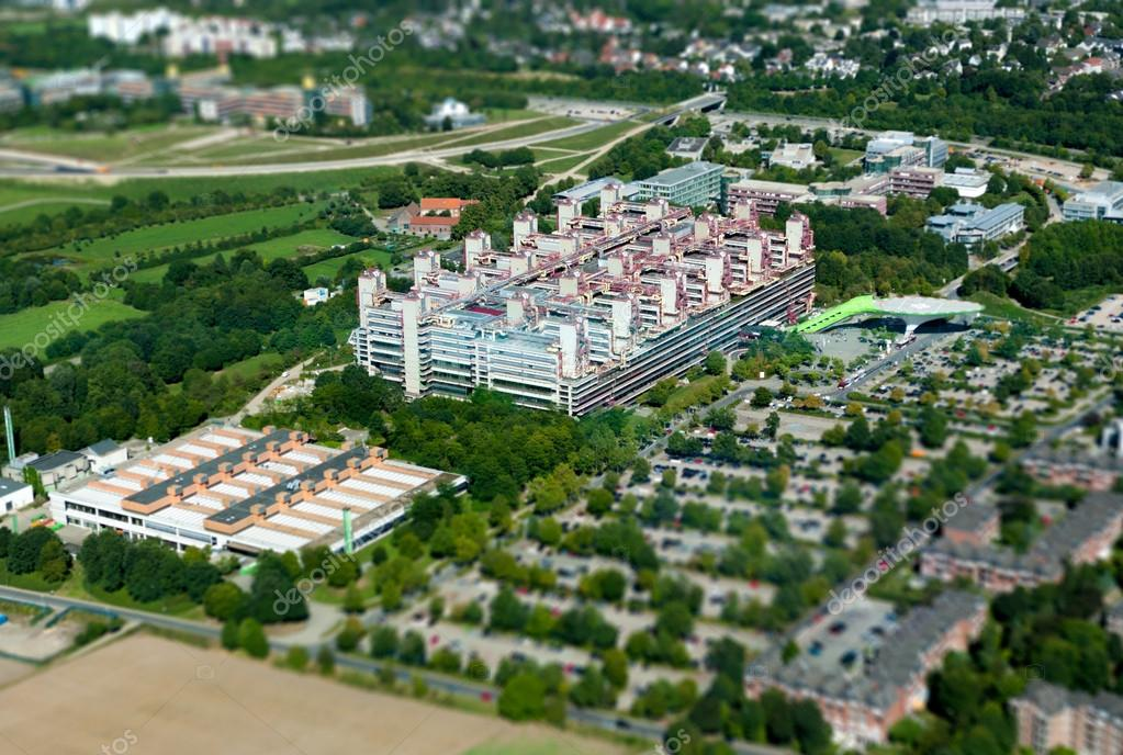 RWTH Hospital in Aachen in Germany, August 2012 - Aerial shot with Hartblei Tilt Lens