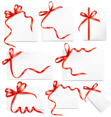 Set of card note with colorful gift bows with ribbons