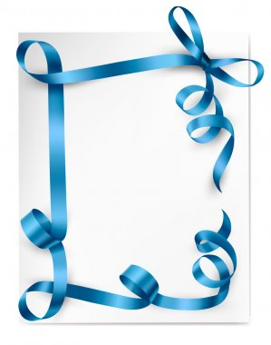 Card note with gift bow with ribbons