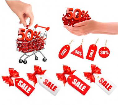 Set of sales tags with red gift bow and shopping carts with sale Concept of discount Vector illustration
