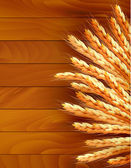 Fotografie Ears of wheat on wooden background. Vector.