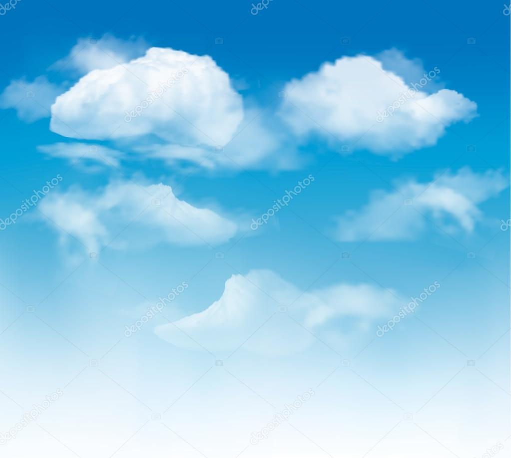 Sky background with clouds. Vector.