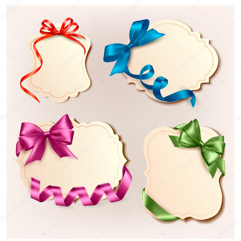 Set of beautiful cards with colorful gift bows with ribbons. Vector