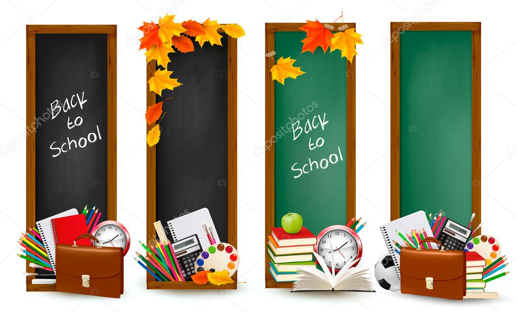 Back to school.Four banners with school supplies and autumn leaves. Vector.