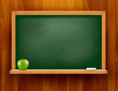 Blackboard with green apple on wooden background. Vector illustration.