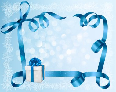 Holiday background with blue gift bow with gift boxes. Vector illustration.