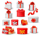 Photo Set of colorful gift boxes with bows and ribbons.