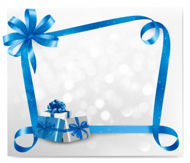 Holiday background with blue gift bow with gift boxes illustration