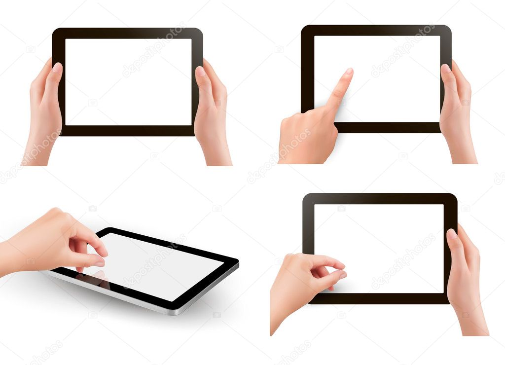 Set of tables pc with hands. Vector.