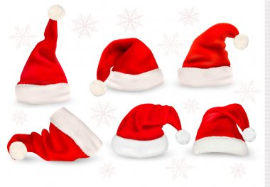 Big collection of red santa hats. Vector.