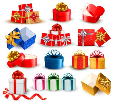 Set of colorful gift boxes with bows and ribbons. Vector illustr