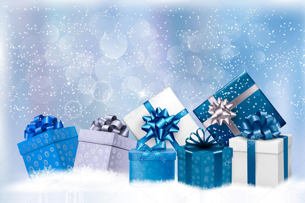 Christmas Blue Background With Gift Boxes And Snowflakes
