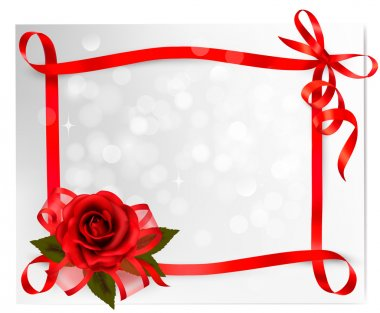 Valentine`s day background. Red rose with gift red bow. Vector i