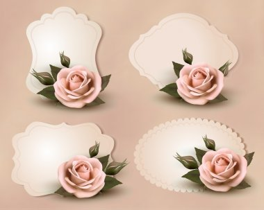 Collection of retro greeting cards with pink rose. Vector illust