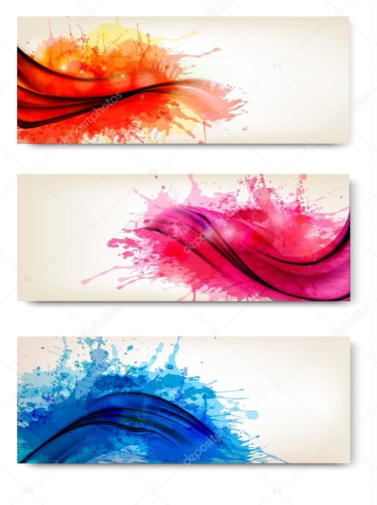 Collection of colorful abstract watercolor banners. Vector illus