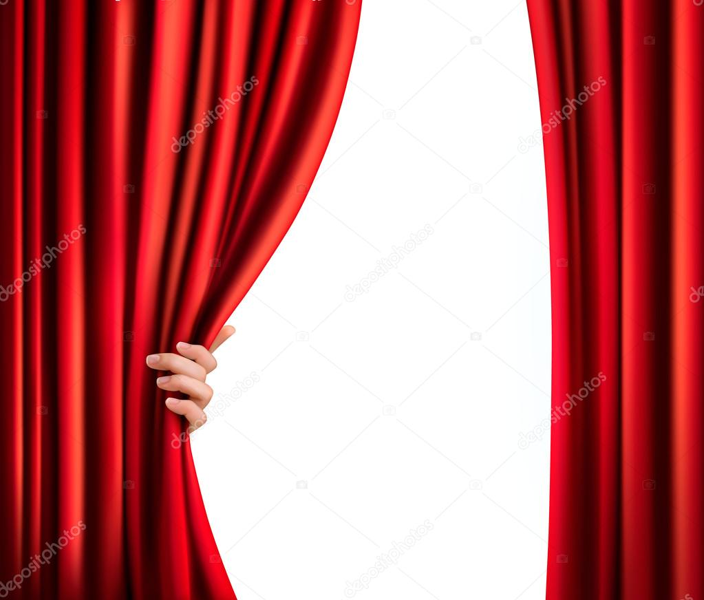 Velvet curtain club - Background With Red Velvet Curtain And Hand Vector Illustration Stock Vector