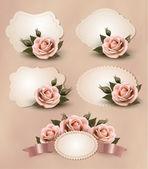 Fényképek Retro üdvözlőlapok, rózsaszín rózsa gyűjteménye. Vektor szeretnénk