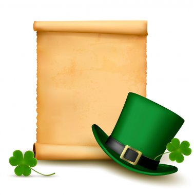 Background with St. Patrick's Day hat with clover. Vector illust