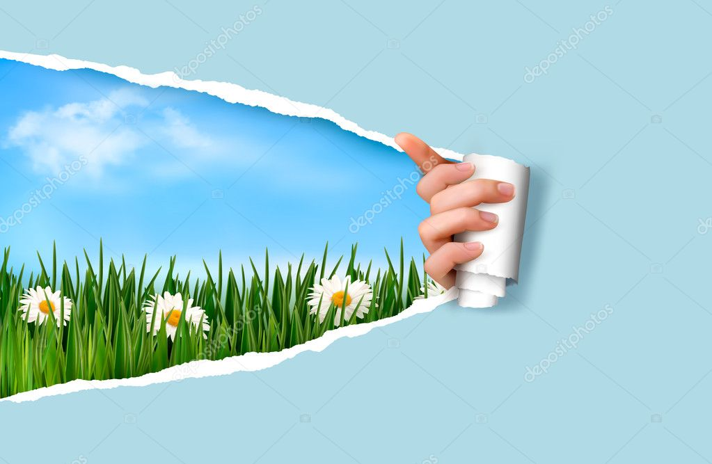 Nature background with green grass and sky and ripped paper. Vec
