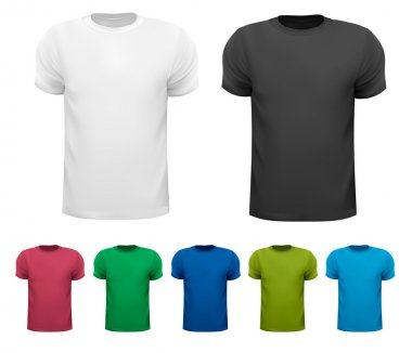 Black and white and color men polo shirts. Design template. Vect