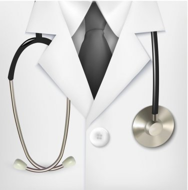 Close up of a doctors lab white coat and stethoscope. Vector ill