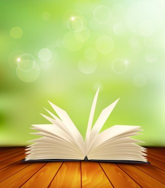 Open book on a wooden floor in front of a green background. Vect