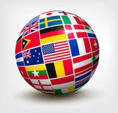 vlajky světa v celém světě. vektorové ilustrace.