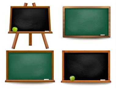 Set of school board blackboards. Back to school. Vector illustra