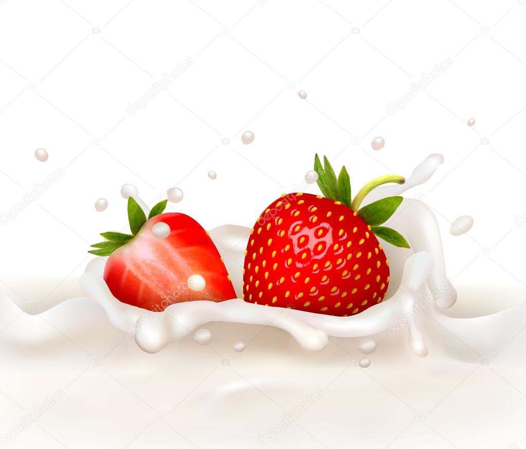 Red strawberry fruits falling into the milky splash. Vector illu