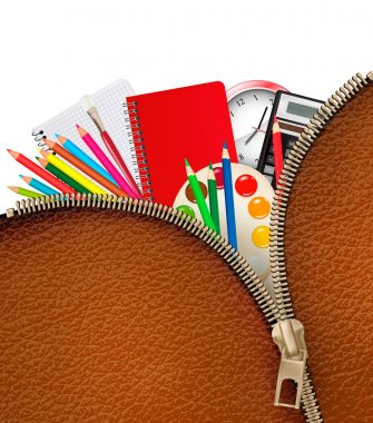Back to school. Background with school supplies and zipper. Vect
