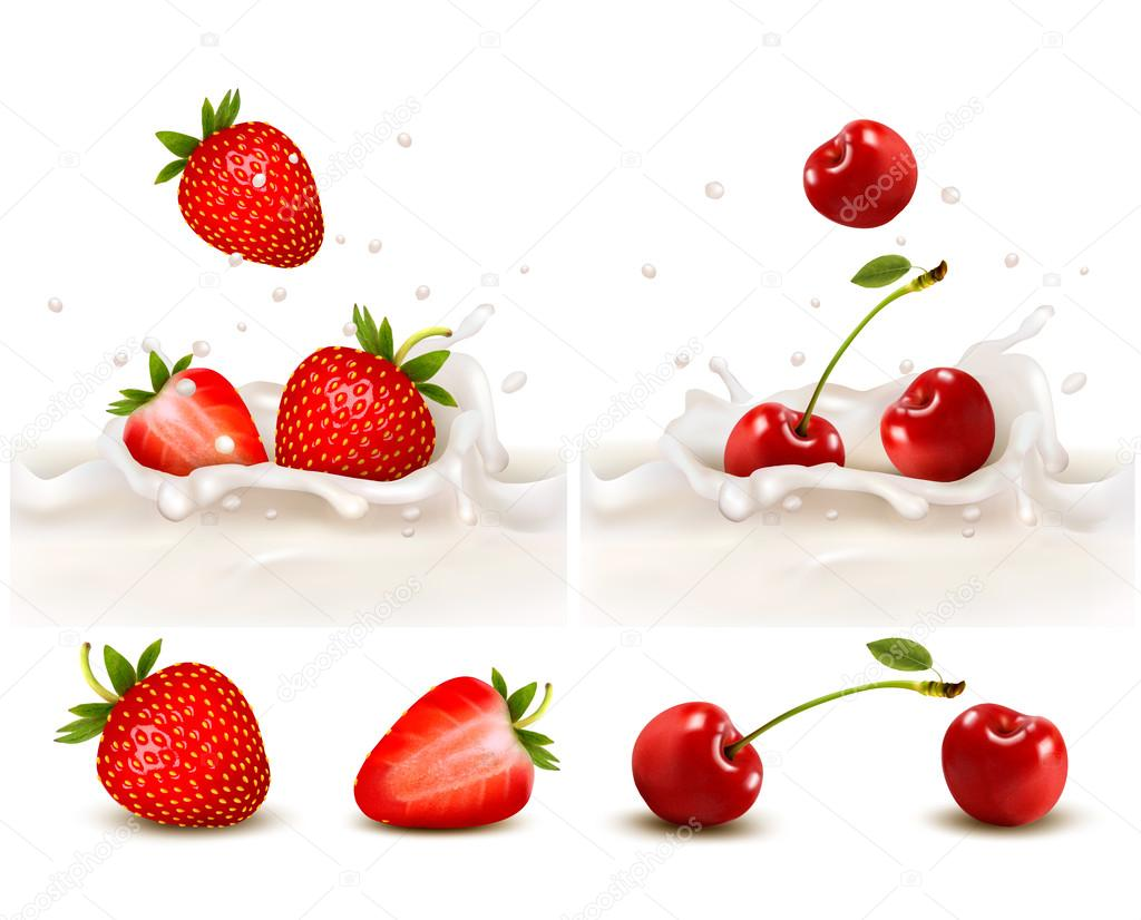 Red strawberry and cherries fruits falling into the milky splash