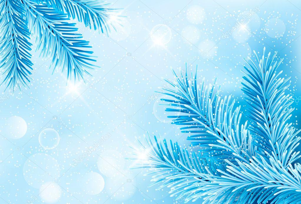 Boże Narodzenie niebieskie tło z gałęzi choinki i snowf ...