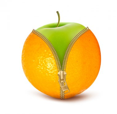Unzipped orange with green apple. Fruit and diet against cellulite. Vector clip art vector