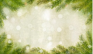 Christmas retro background with christmas tree branches. Vector.