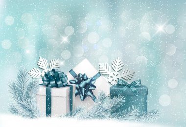 Holiday background with gift ribbon with gift box Vector stock vector