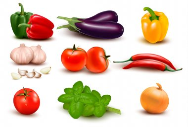 The big colorful group of vegetables