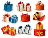 Fotografie Reihe von bunten retro Geschenk-Boxen mit Schleifen und Bändern. Vector ich