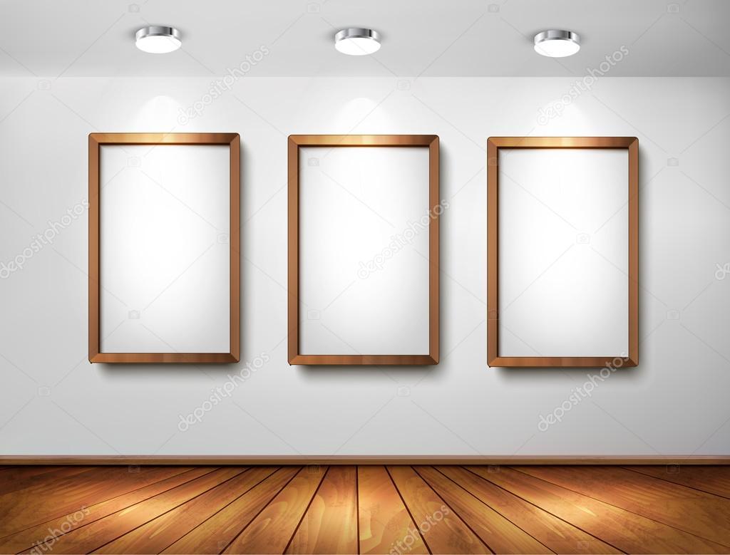 Foto Op Wand.Lege Houten Frames Op Wand Met Schijnwerpers En Houten Vloer Ve