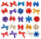 Fotografia grande set di fiocchi regalo colorati con nastri. Vector