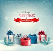 Vánoční dovolená pozadí s dárky. vektor