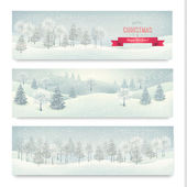 Vánoční Zimní krajina bannery vektor