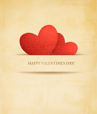 Holiday vintage Valentine day background. Two red hearts on old paper. clip art vector