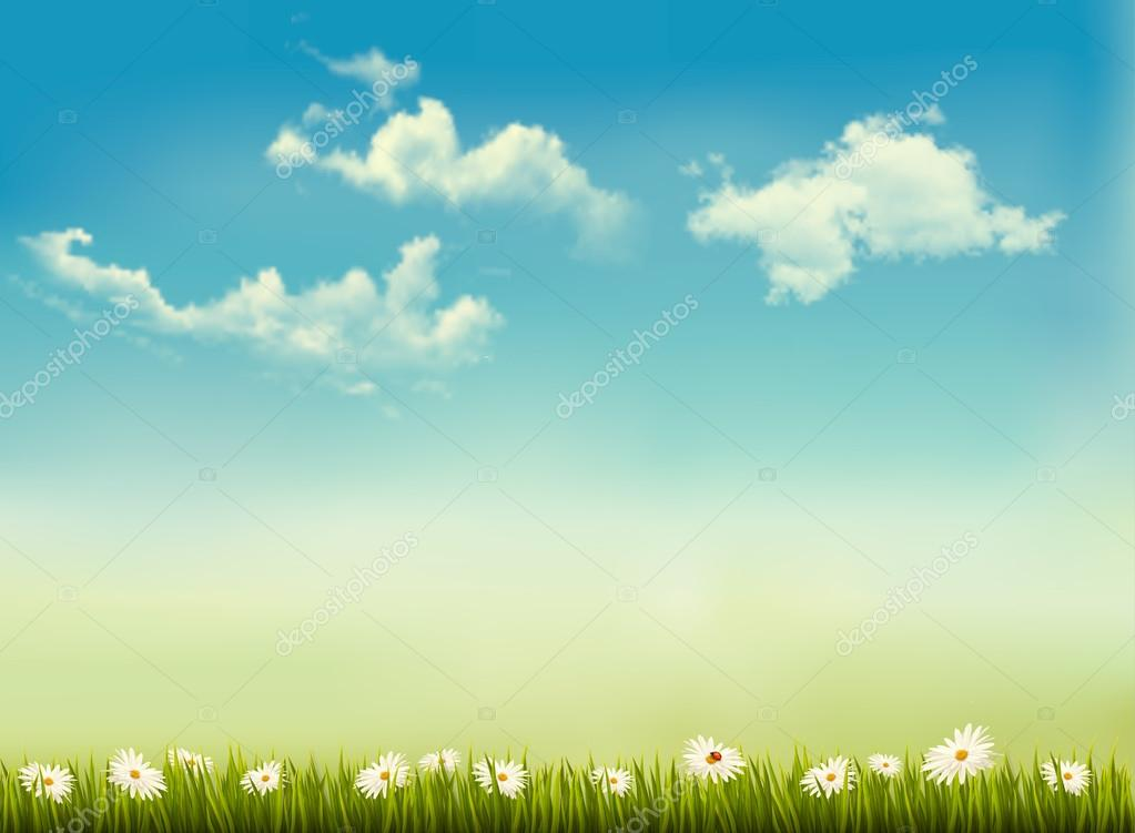 Retro nature background with green grass and sky . Vector.